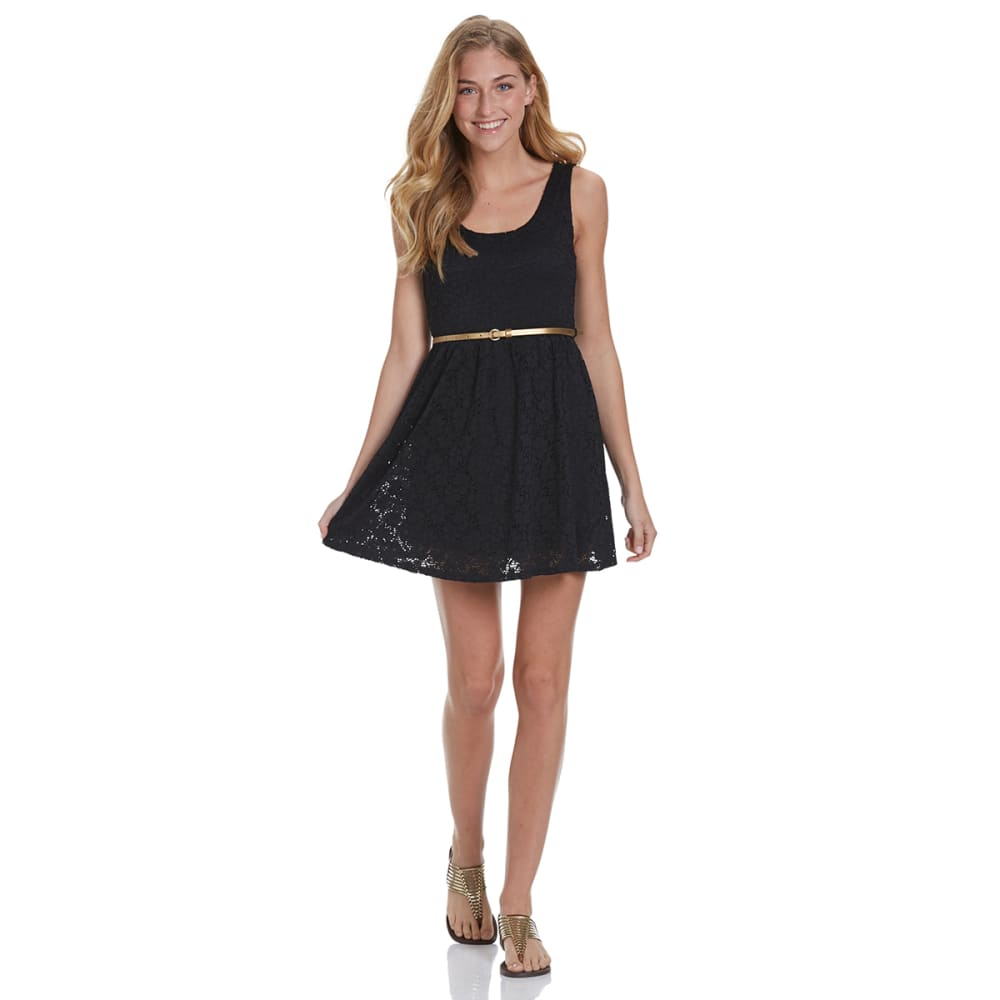 AMBIANCE Juniors' Belted Lace Dress - BLACK