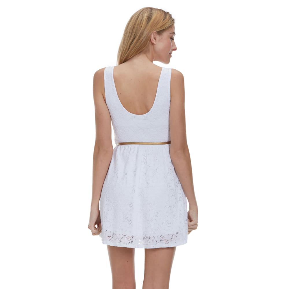 AMBIANCE Juniors' Belted Lace Dress - WHITE