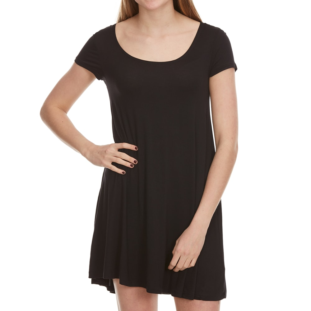AMBIANCE Juniors' Short Sleeve Knit T-Shirt Dress - BLACK