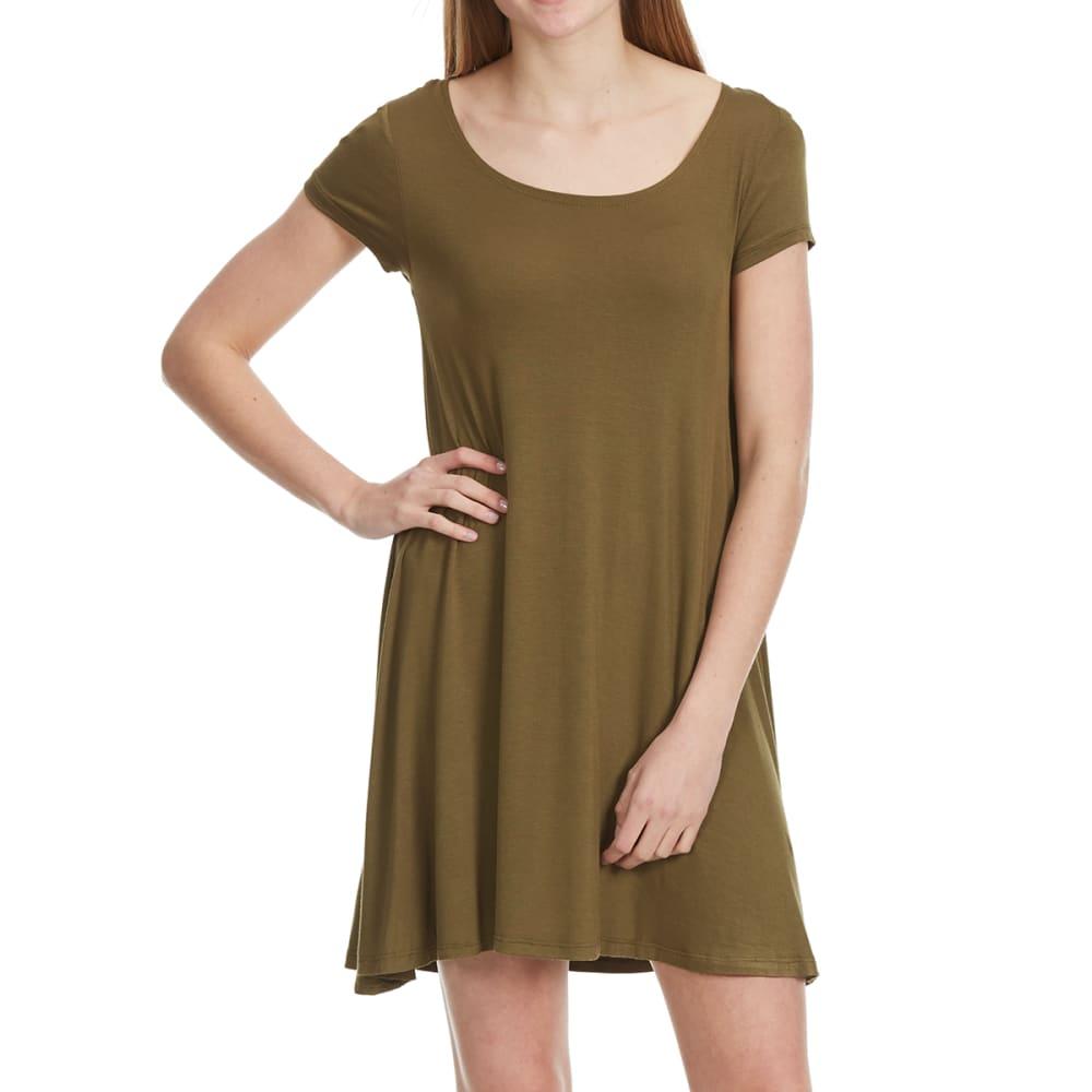 AMBIANCE Juniors' Short Sleeve Knit T-Shirt Dress - OLIVE