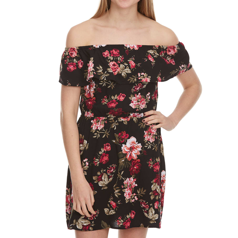 AMBIANCE Juniors'  Floral Off The Shoulder Dress - NEW BLACK