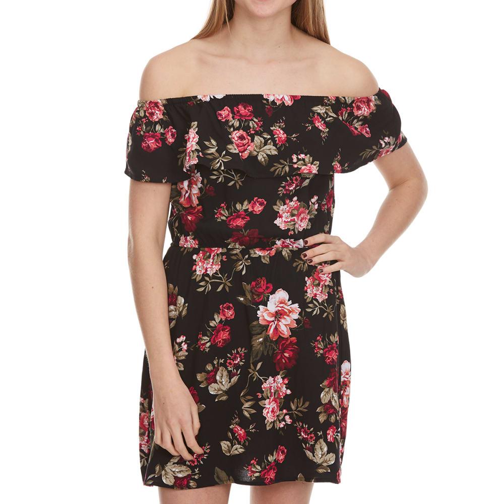 AMBIANCE Juniors'  Floral Off The Shoulder Dress - NEW BLACK