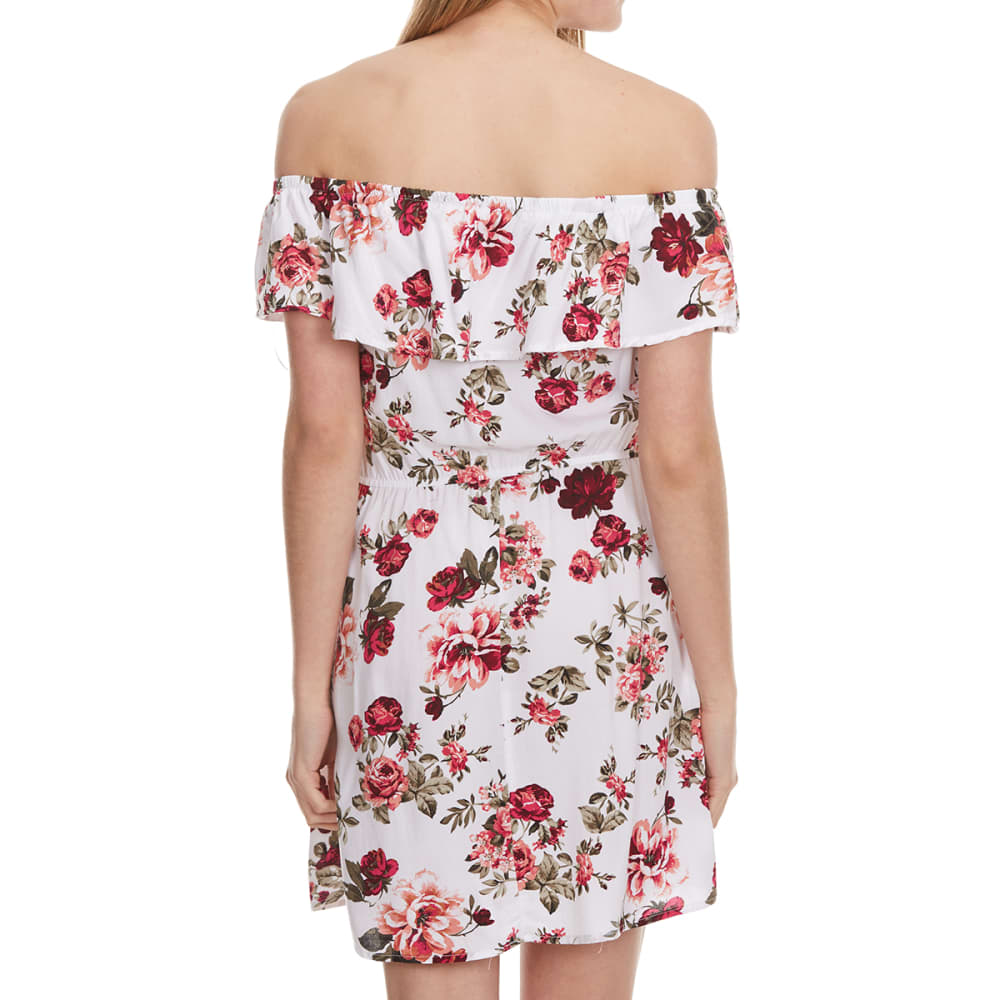 AMBIANCE Juniors'  Floral Off The Shoulder Dress - NEW WHITE