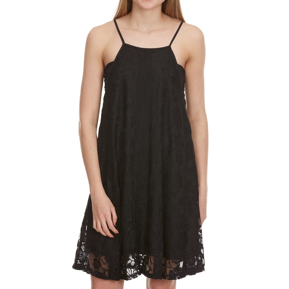 AMBIANCE APPAREL Juniors' High-Neck Lace Trapeze Dress - BLACK