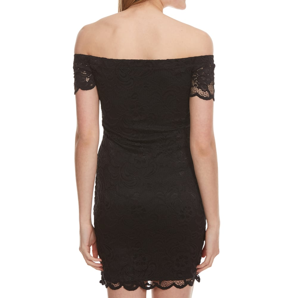 AMBIANCE Juniors' Short Sleeve Off The Shoulder Lace Dress - BLACK