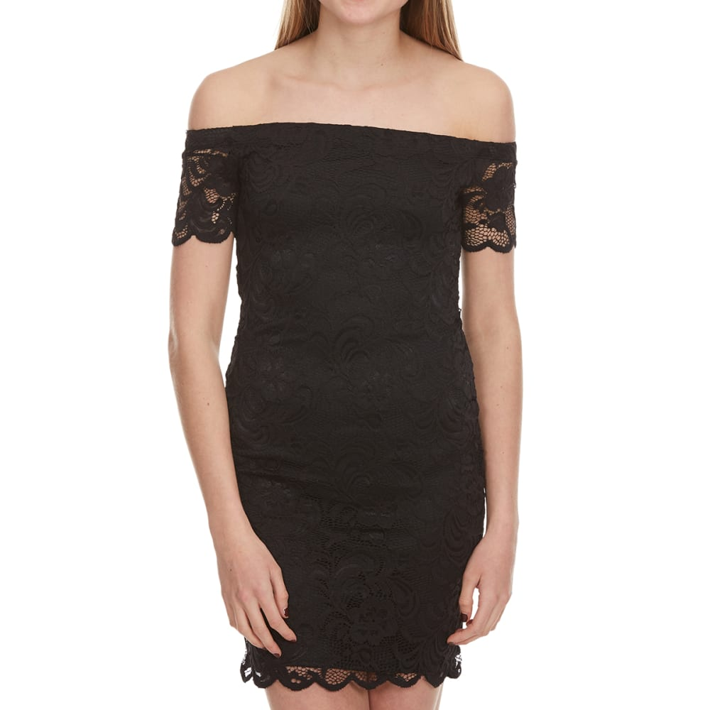 AMBIANCE Juniors' Short Sleeve Off The Shoulder Lace Dress - BLACK