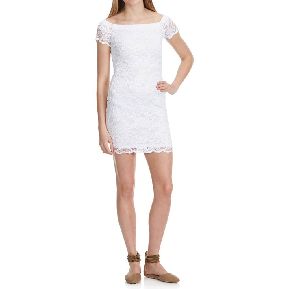 Ambiance Juniors Short Sleeve Off The Shoulder Lace Dress - White, M