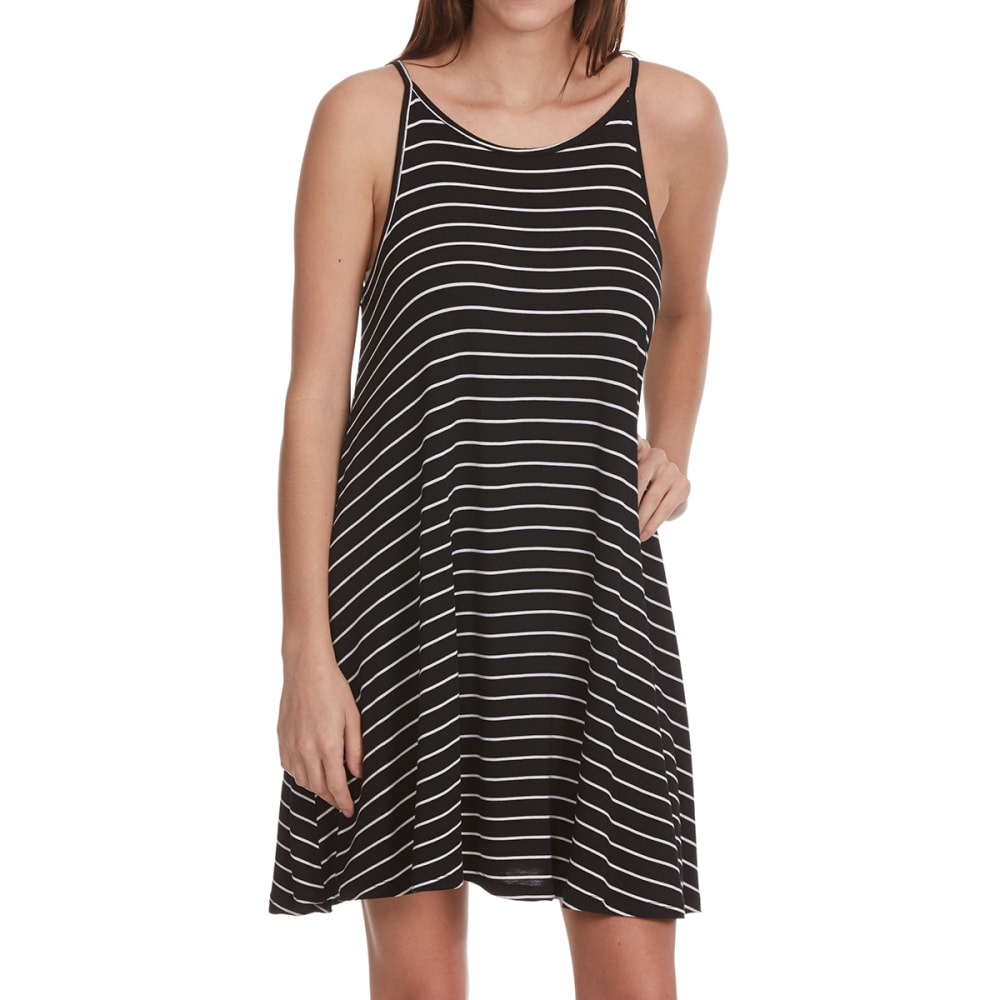 AMBIANCE APPAREL Juniors' A-Line Striped Cami Dress - BLACK WHITE STRIPE