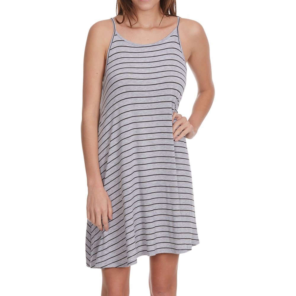 AMBIANCE APPAREL Juniors' A-Line Striped Cami Dress - HTR GREY BLACK STRIP