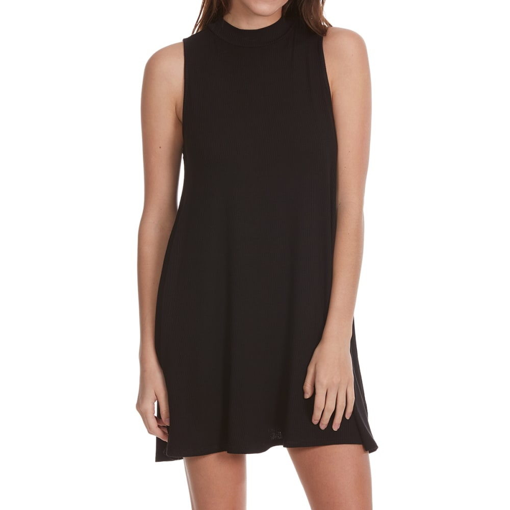 AMBIANCE APPAREL Juniors' Mock Neck Short-Sleeve Shift Dress - BLACK