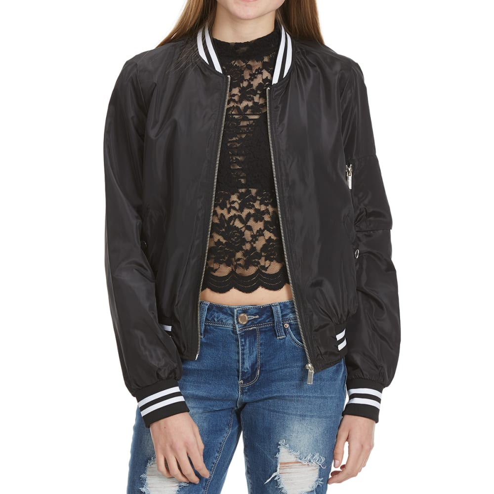 AMBIANCE Juniors' Bomber Jacket with Two-Tone Band - BLACK