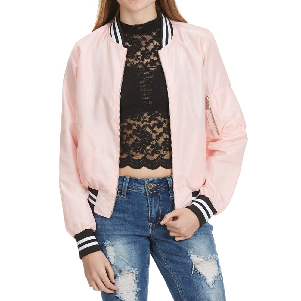 AMBIANCE Juniors' Bomber Jacket with Two-Tone Band - BLUSH
