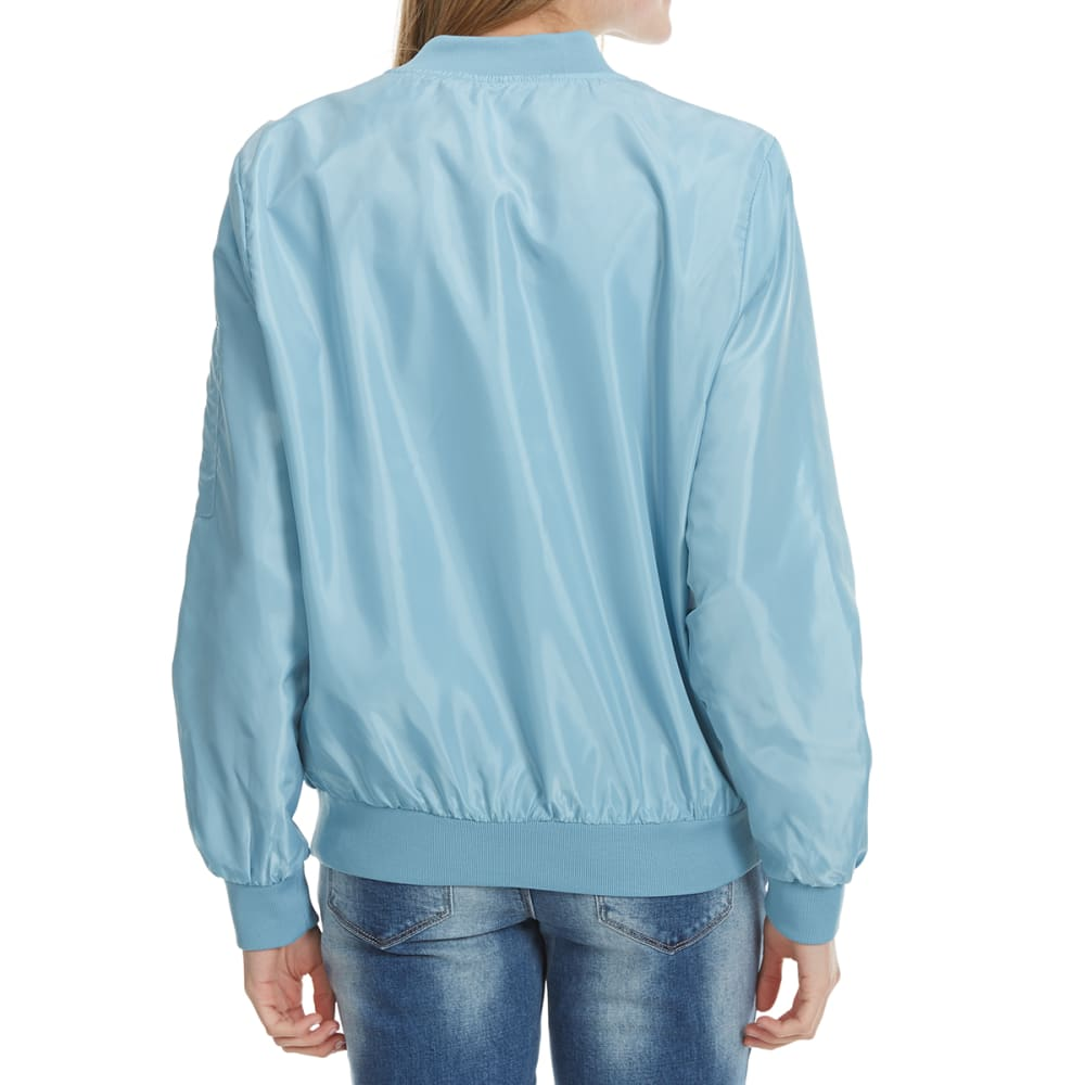 AMBIANCE Juniors' Solid Bomber Jacket - LIGHT BLUE