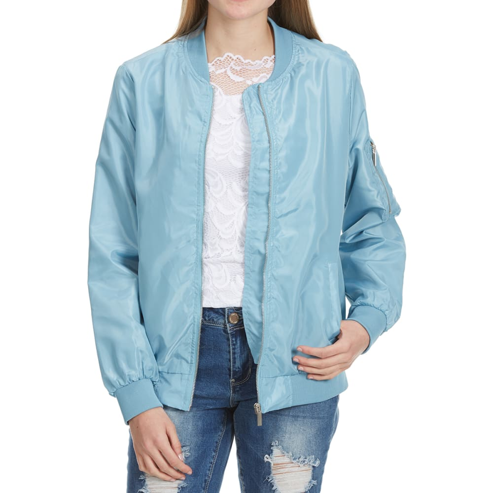 Ambiance Juniors Solid Bomber Jacket - Blue, S