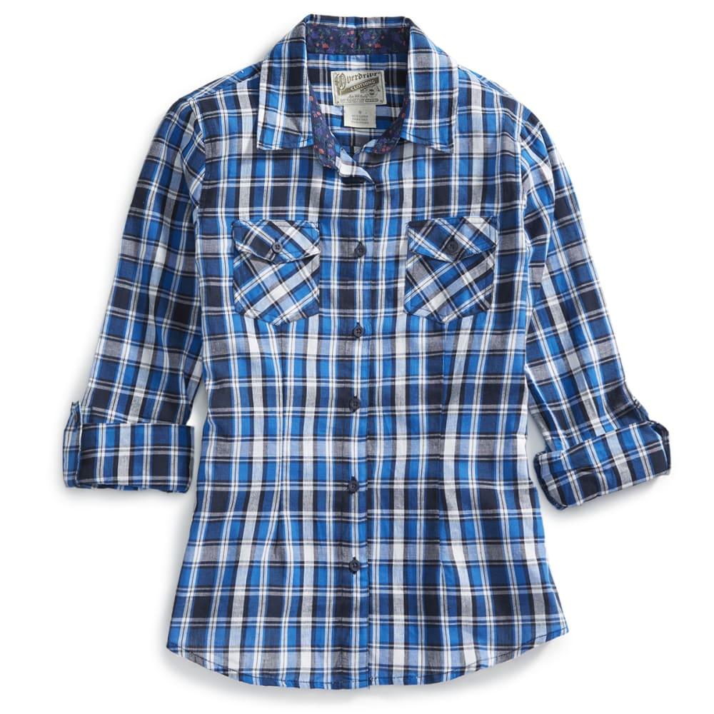 OVERDRIVE Women's Plaid Woven Long-Sleeve Shirt - ROYAL/BLACK