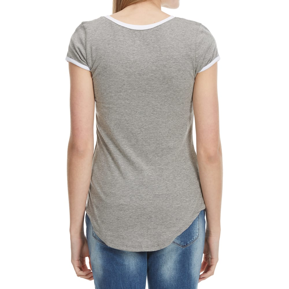 POOF Juniors' Short Sleeve Ringer Tee - GREY HEATHER