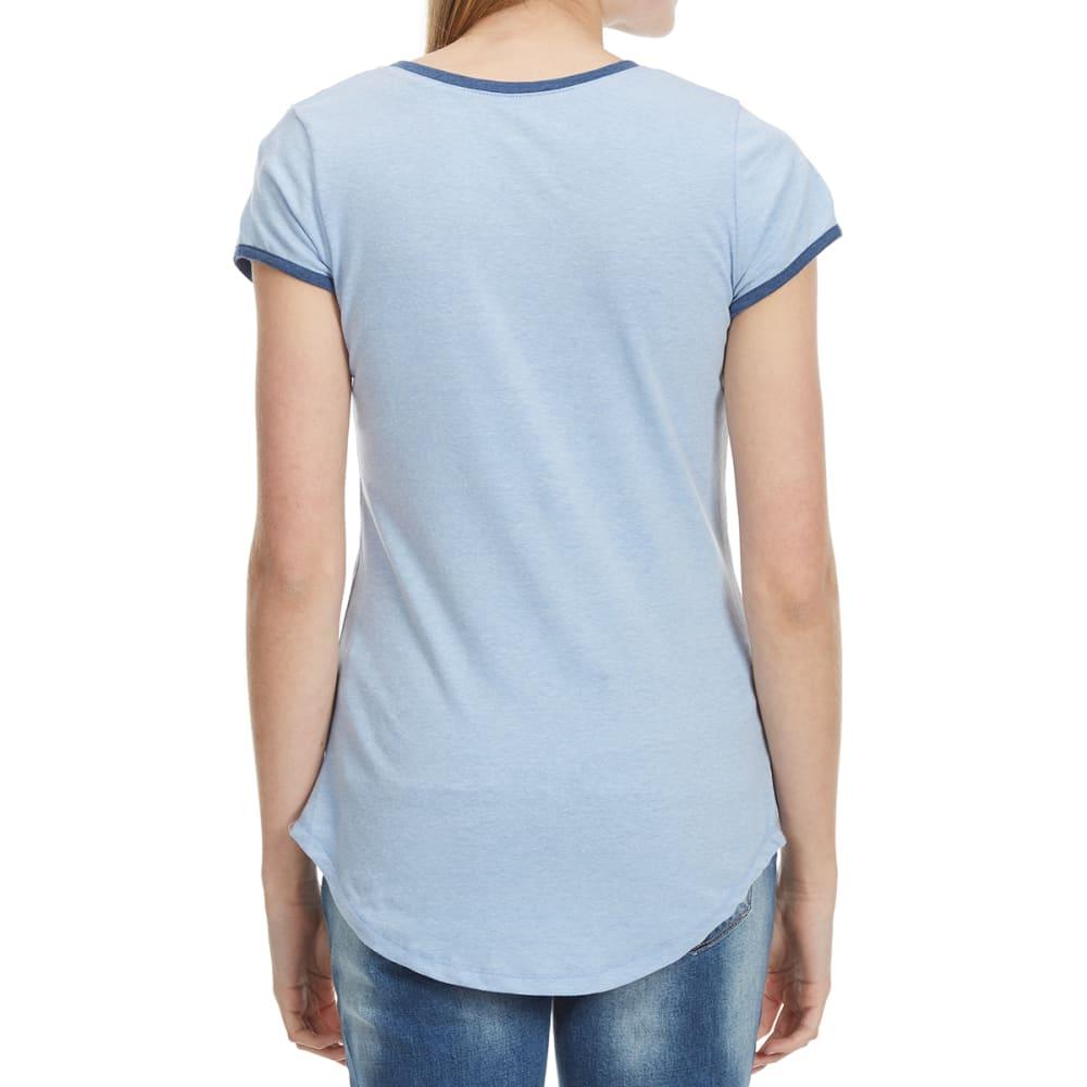 POOF Juniors' Short Sleeve Ringer Tee - CHAMBRAY HEATHER