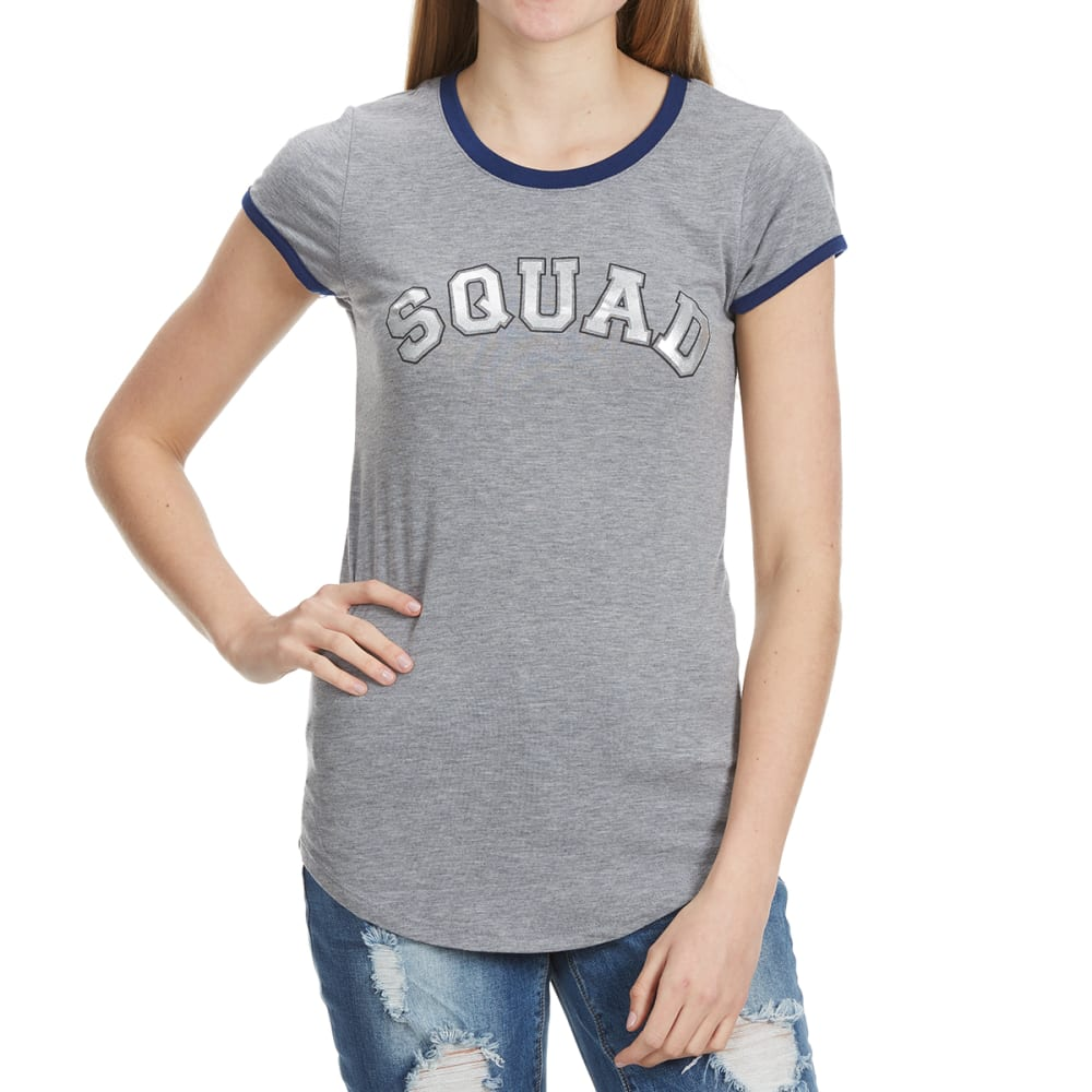 "POOF Juniors' Screen Ringer Short Sleeve Tee - ""SQUAD"" GREY HTHR"