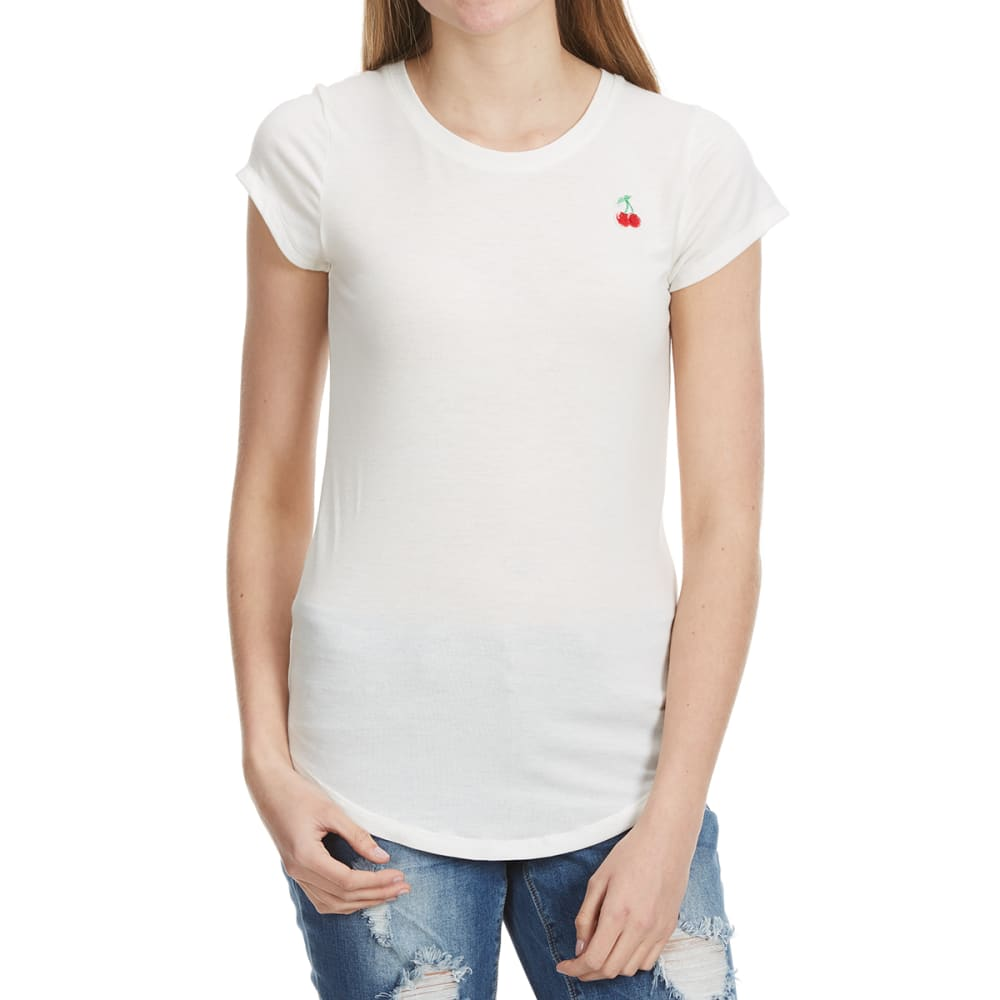 POOF Juniors' Crew Neck Tee With Chest Badge - WHITE-CHERRIES