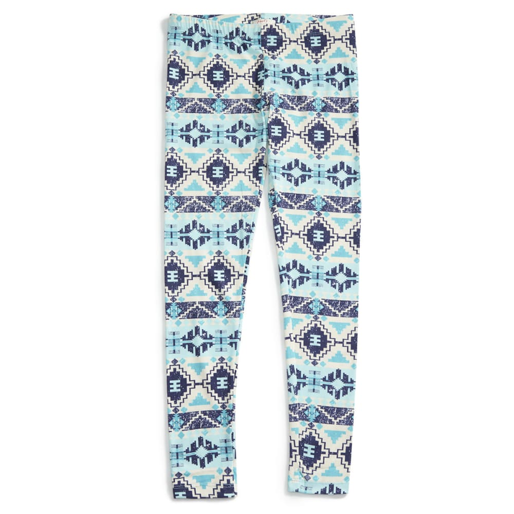 POOF Juniors' Aztec Print Peached Leggings - PEACOCK BLUE