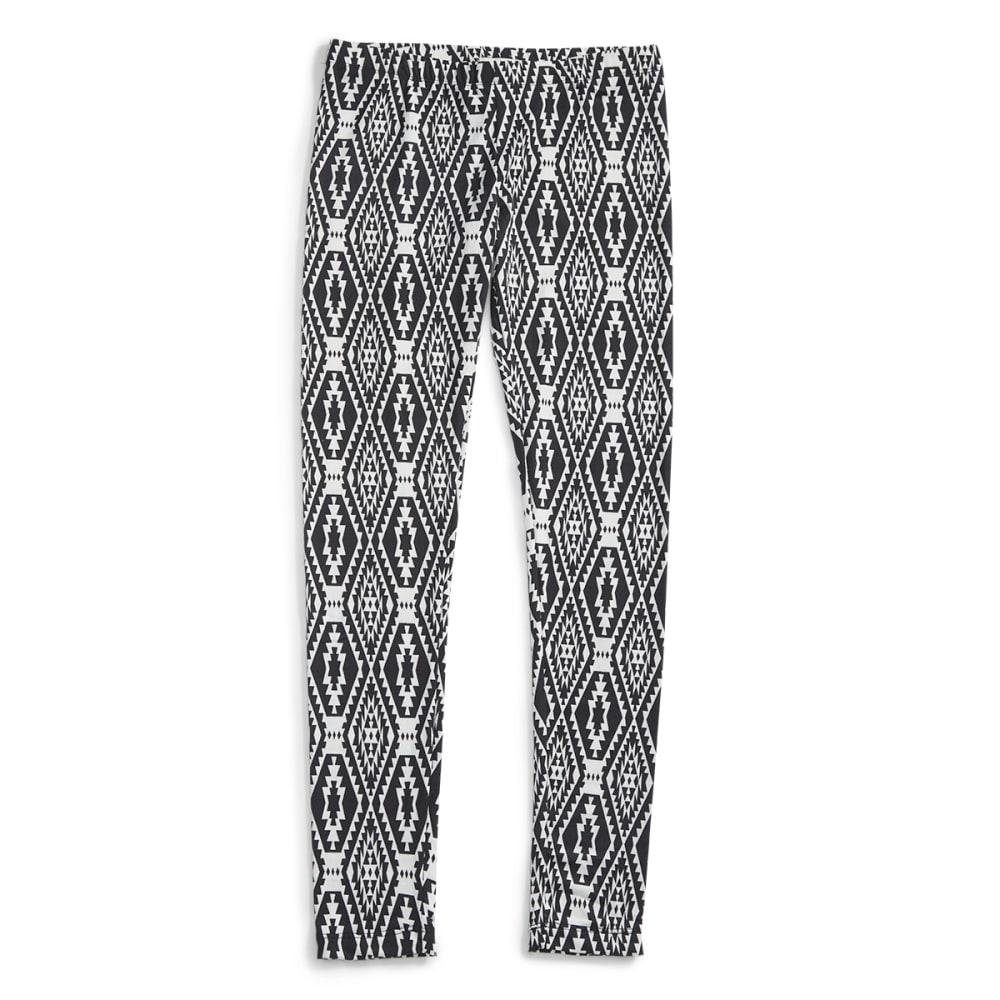 POOF Juniors' Ikat Print Peached Leggings - BLACK/IVORY