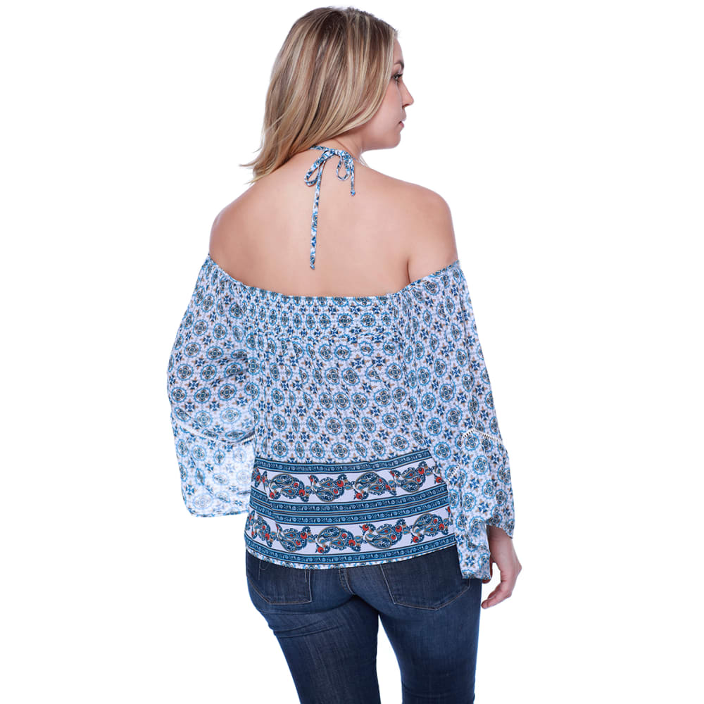 TAYLOR & SAGE Juniors' Printed Cold-Shoulder High-Neck Long-Sleeve Top - CLW-CLEAN WHITE