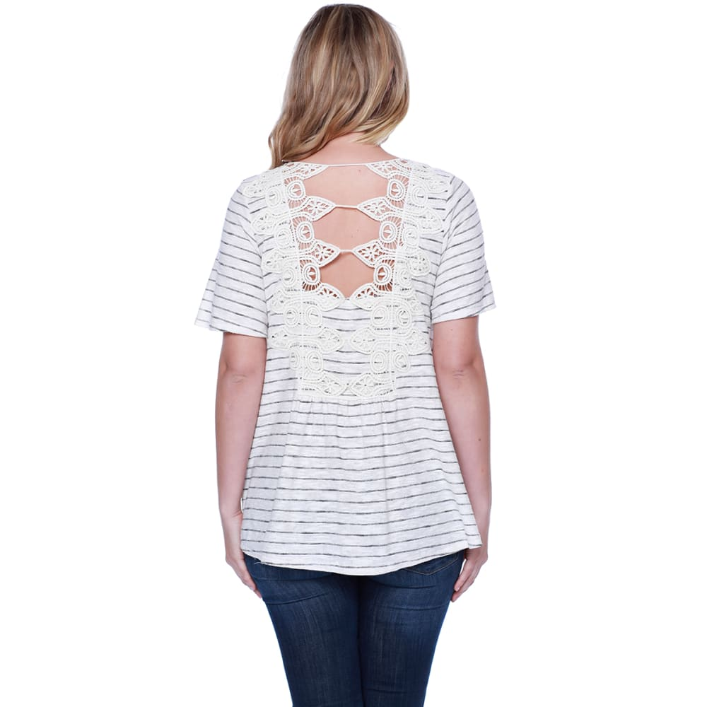 TAYLOR & SAGE Juniors' Striped Lace-Up Front Crochet Back Short-Sleeve Tee - NAT-NATURAL