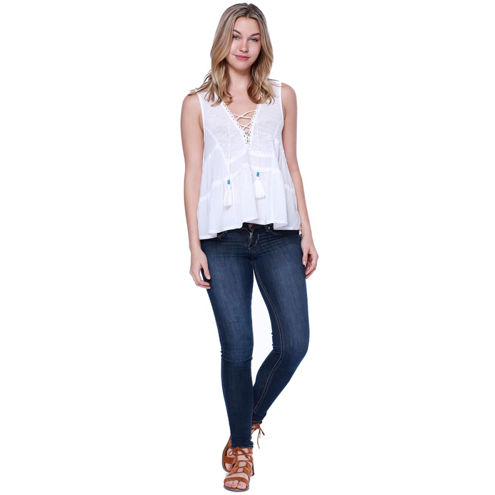 TAYLOR & SAGE Juniors' Lace-Up Front Crochet Back Tank Top - CLW-CLEAN WHITE