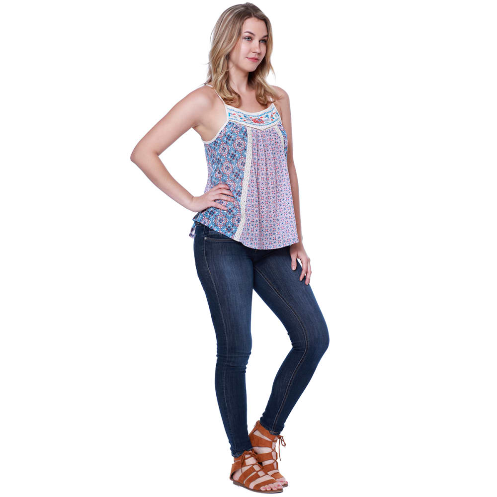 TAYLOR & SAGE Juniors' Blue Coral Print Embroidered Yoke Tank Top - CLW-CLEAN WHITE