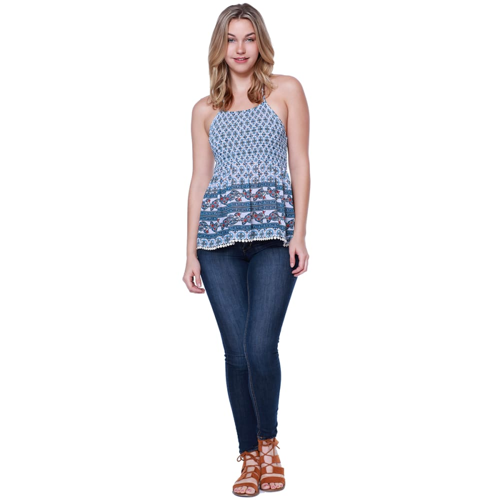 TAYLOR & SAGE Juniors' Blue Print High-Neck Baby Doll Top - CLW-CLEAN WHITE