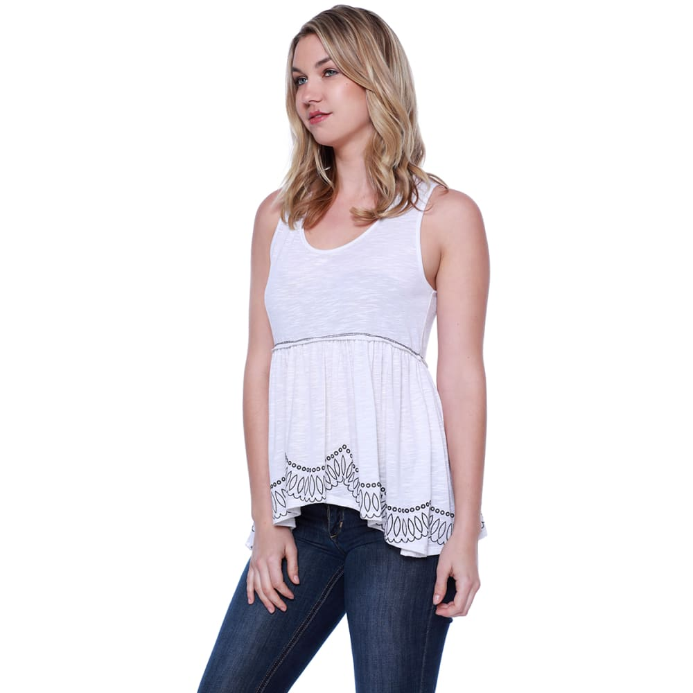 TAYLOR & SAGE Juniors' Embroidered Buttoned Split-Back Baby Doll Tank Top - NAT-NATURAL