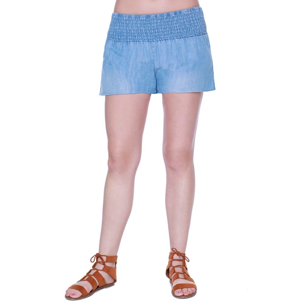 TAYLOR & SAGE Juniors' Chambray Soft Shorts - LBL-LIGHT BLUE