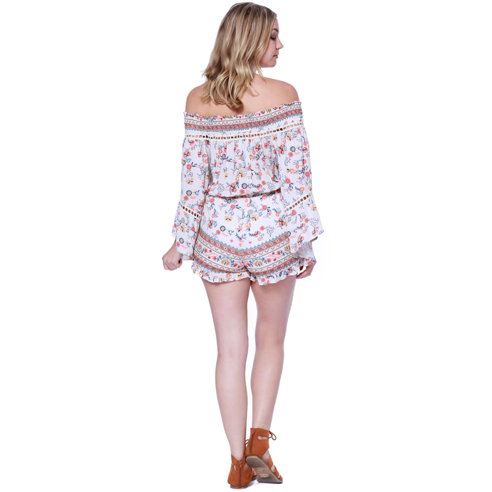 TAYLOR & SAGE Juniors' Ditsy Off-the-Shoulder Romper - CLW-CLEAN WHITE