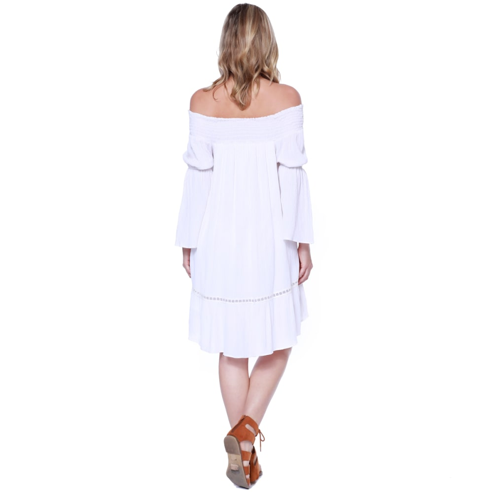 TAYLOR & SAGE Juniors' Off-The-Shoulder Embroidered Bell Sleeve Dress - CLW-CLEAN WHITE