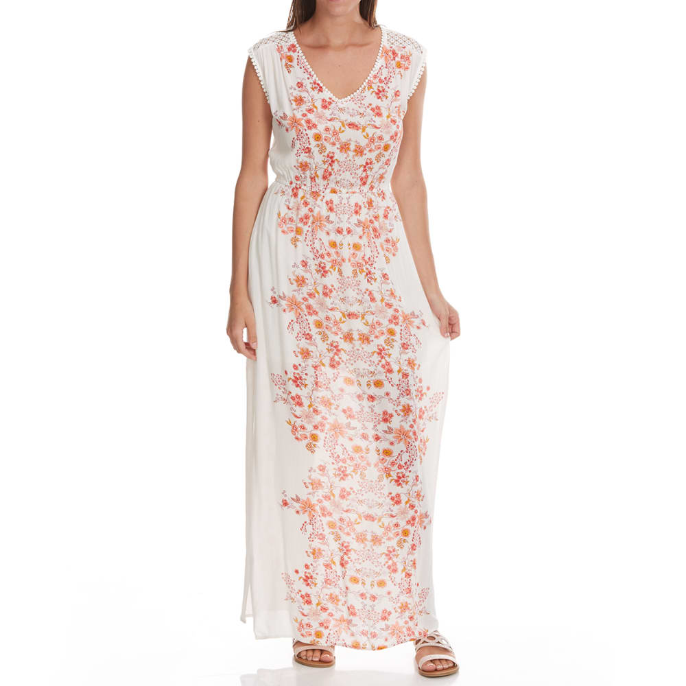 TAYLOR & SAGE Juniors' Center Print Empire Waist Maxi Dress - NAT-NATURAL