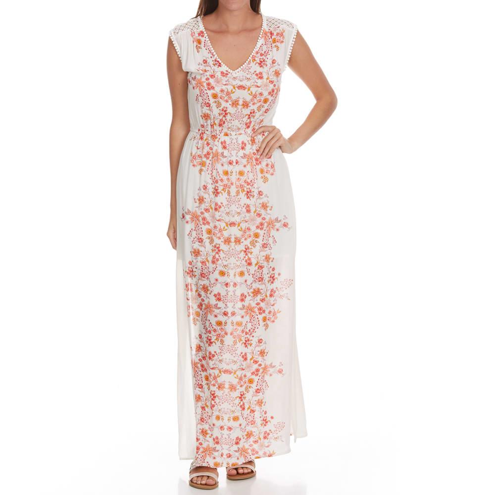 TAYLOR & SAGE Juniors' Center Print Empire Waist Maxi Dress - NAT-NATURAL