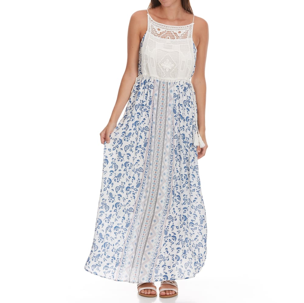 TAYLOR & SAGE Juniors' Crochet Top Ditsy Floral Bottom Maxi Dress - CLW-CLEAN WHITE