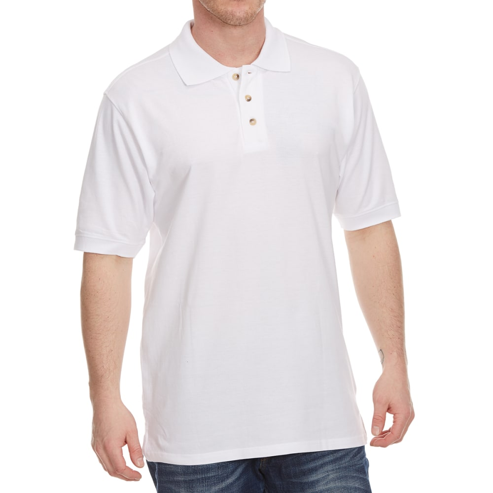 BCC Men's Short Sleeve Pique Polo - WHITE