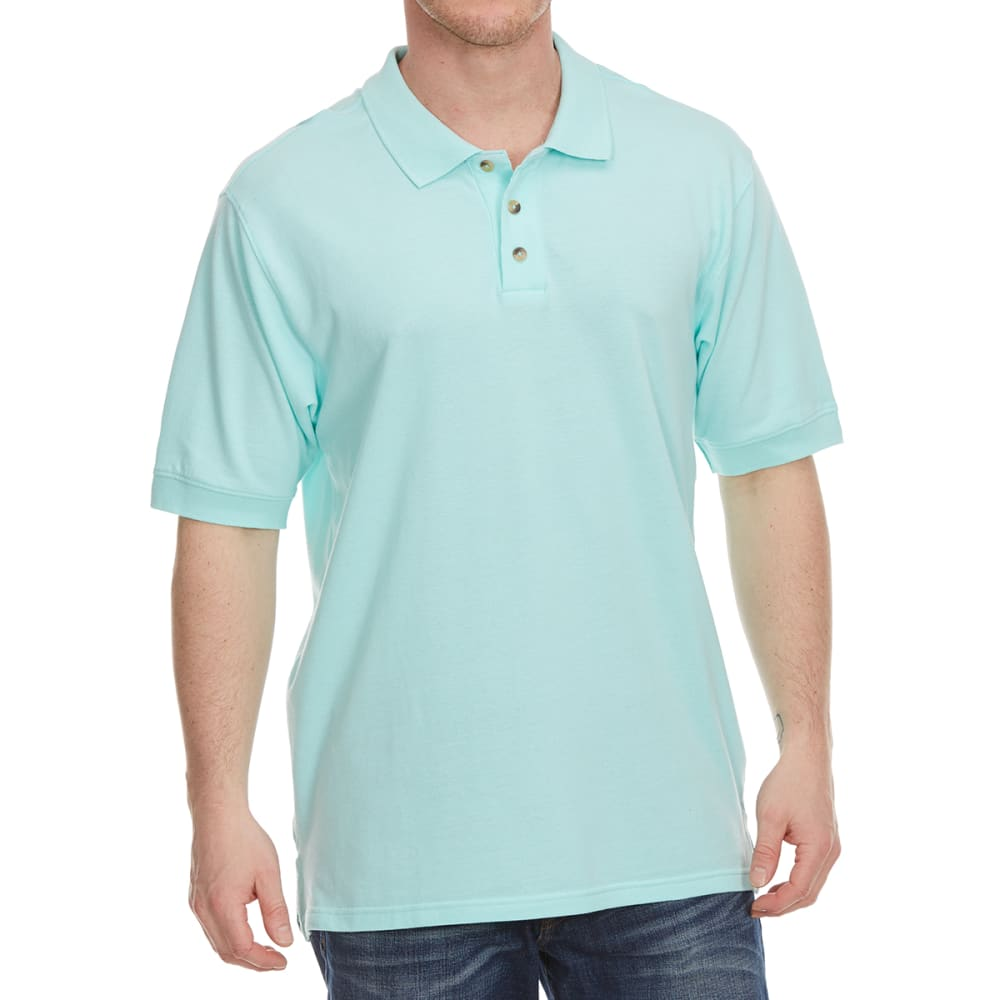 BCC Men's Short Sleeve Pique Polo - ARUBA BLUE