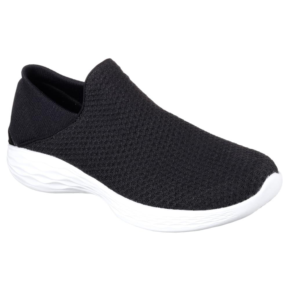 SKECHERS Women's You Sneakers, Black/White 8