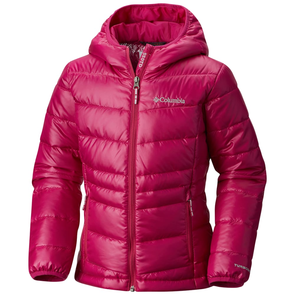 Columbia Big Girls' Gold 550 Turbodown Hooded Down Jacket - Red, XL