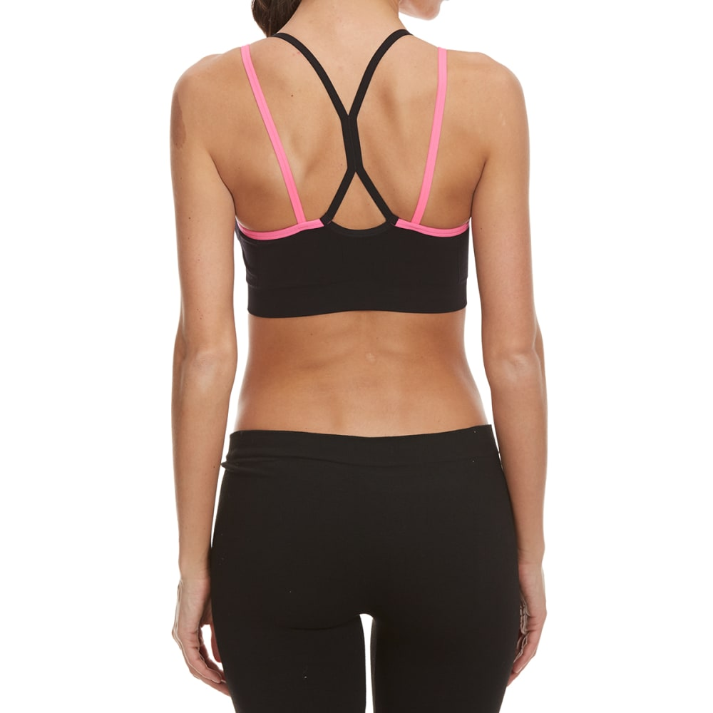 RBX Women's Seamless Sports Bra with Removable Cups - BLK/HAWAIIAN PNK-A