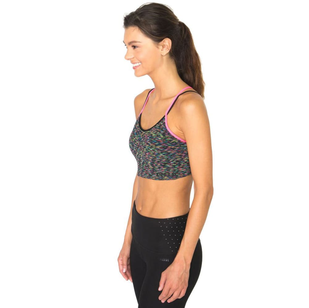 RBX Women's Multi-Striated Seamless Sports Bra with Removable Demi Cups - BLACK COMBO-A