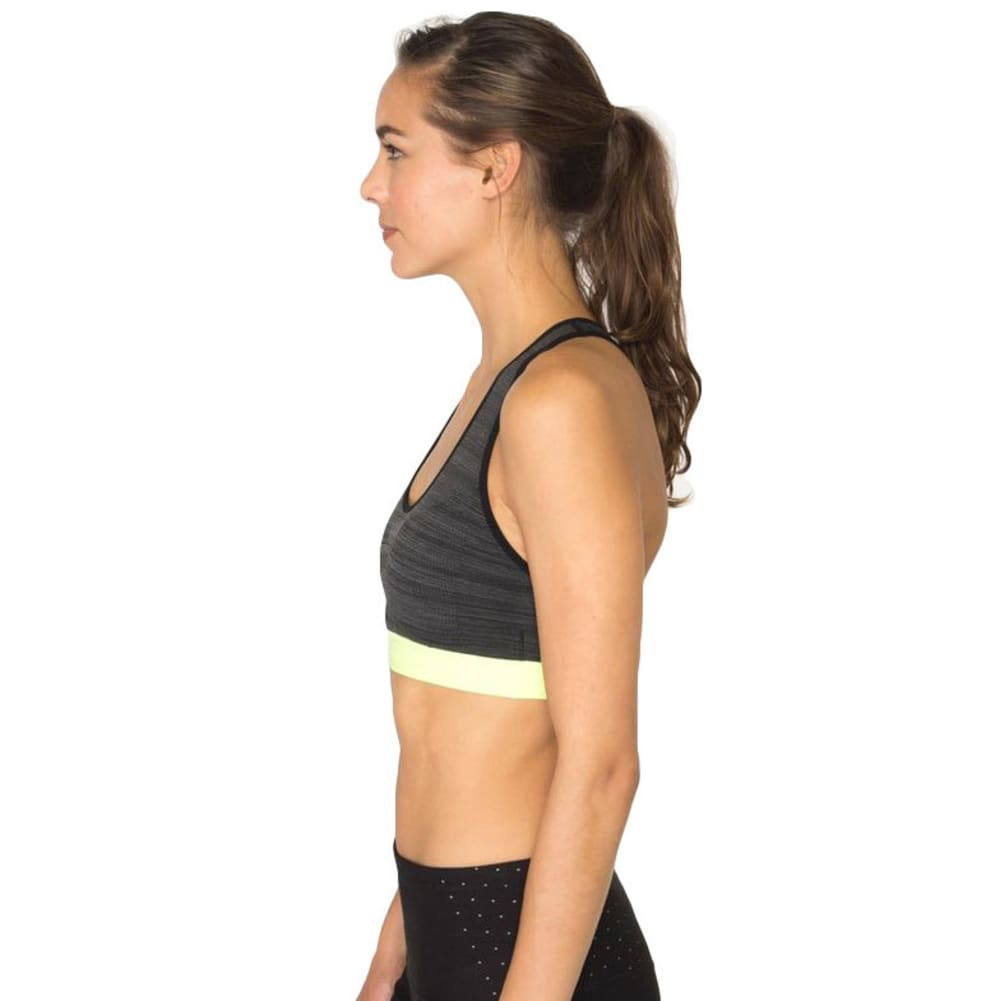 RBX Women's Seamless Sports Bra with Removable Demi Cups - BLK STRI/CITR-A