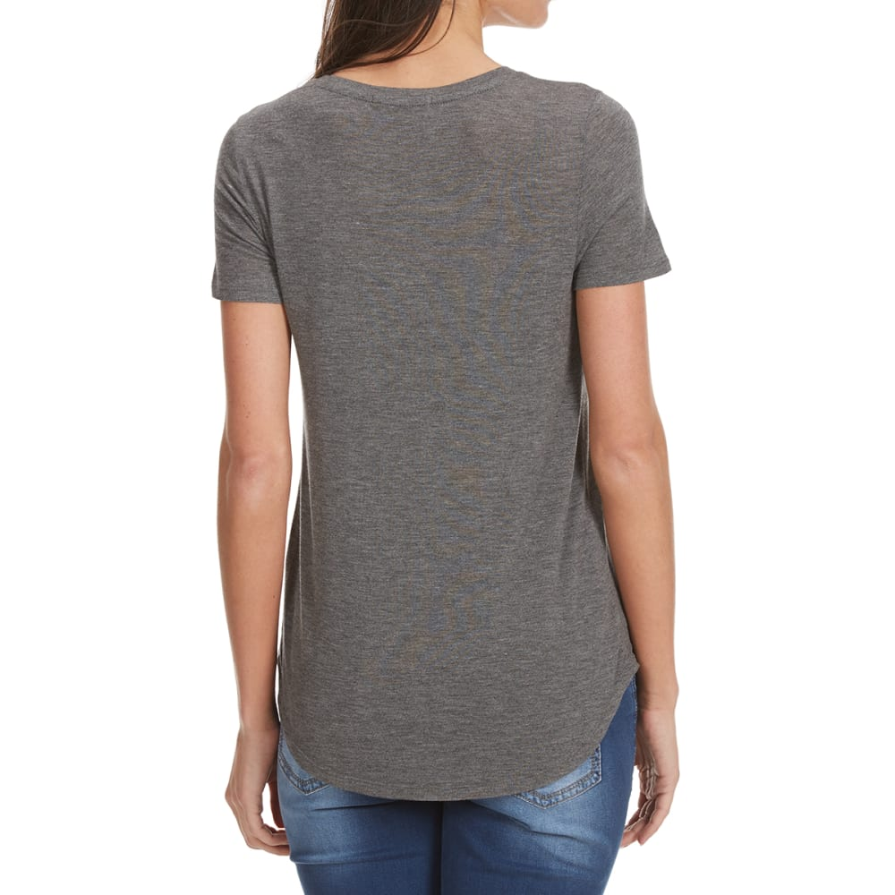 FEMME Women's Baby Hacci V-Neck Tee - HEATHER CHARCOAL