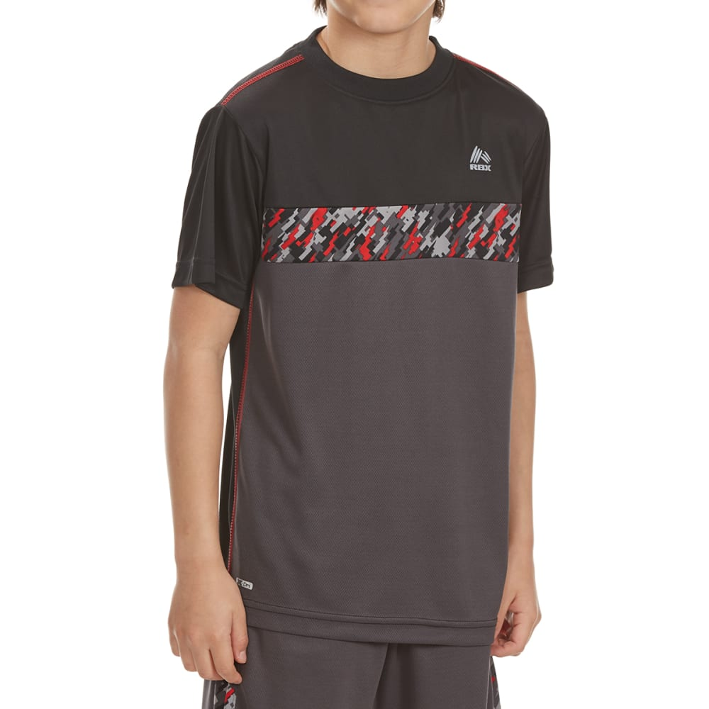 RBX Boys' Blocked Solid Digital Camo Short-Sleeve Tee - BLACK