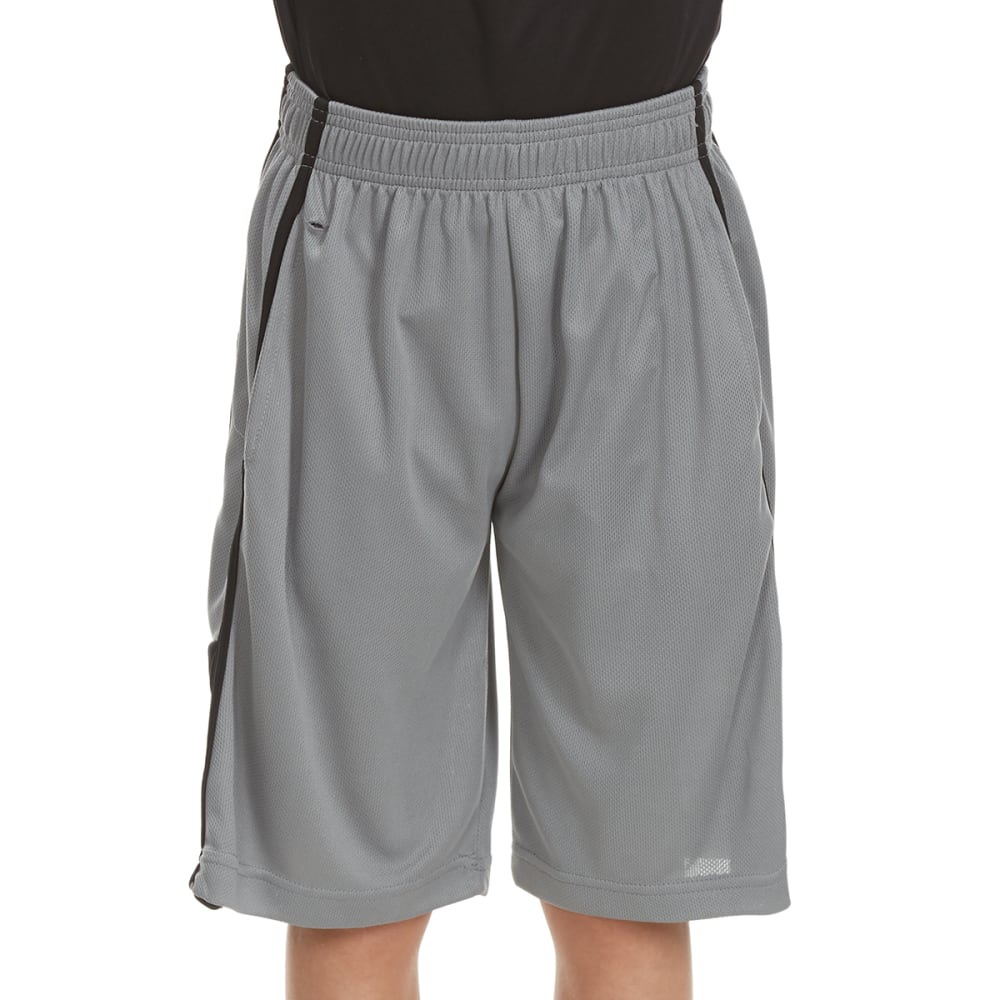 """RBX Boys' """"Refuse to Lose"""" Poly Jersey Mesh Solid Shorts - GREY"""
