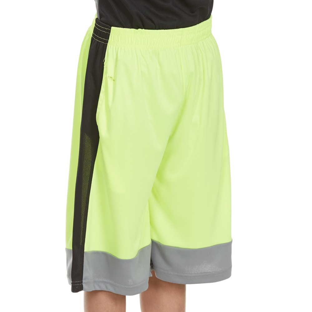 """RBX Boys' """"Refuse to Lose"""" Blocked Poly Jersey Mesh Shorts - NEON YELLOW"""