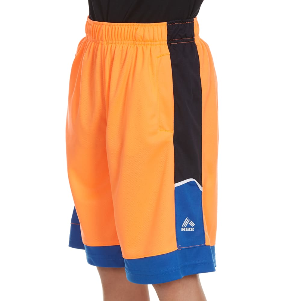 "RBX Boys' ""Rule The Yard"" Blocked Poly Jersey Mesh Shorts - NEON ORANGE"
