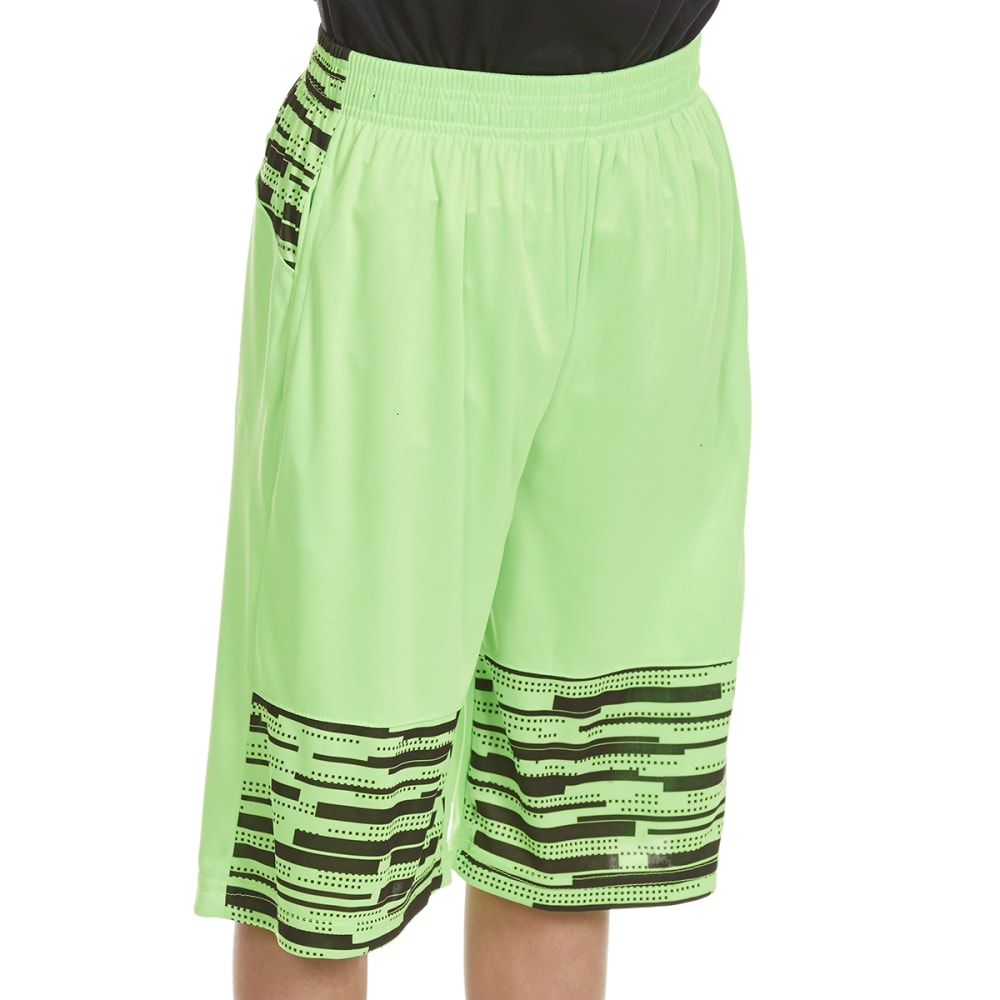 """RBX Boys' """"Unleashed"""" Printed Poly Jersey Shorts - NEON GREEN"""